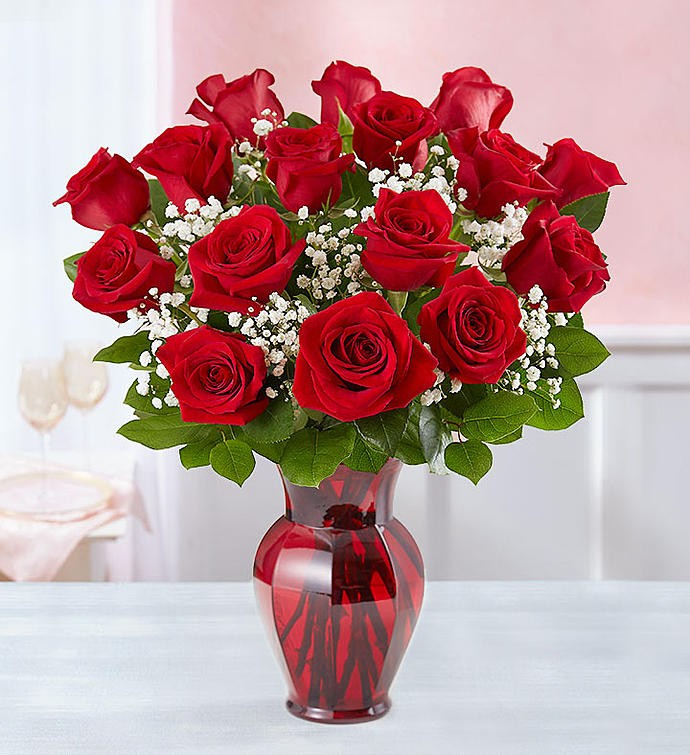 Love You Always 18 Roses In Red Vase Bridgewater Florist