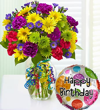 Happy Birthday To You With Mylar Balloon Flowers From The Heart