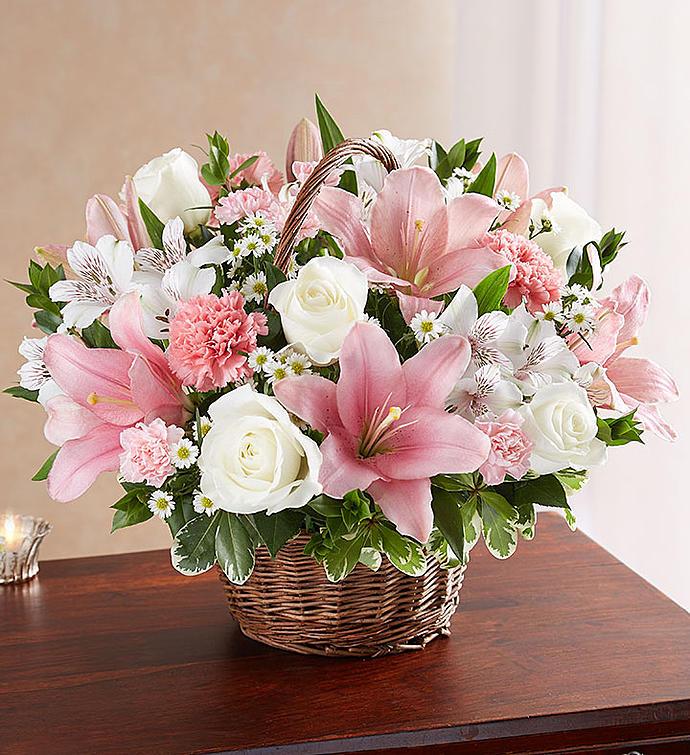 Graceful Basket In Pink White