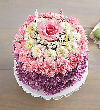 Superb Pink Purple Birthday Cake Flowers From The Heart Funny Birthday Cards Online Elaedamsfinfo