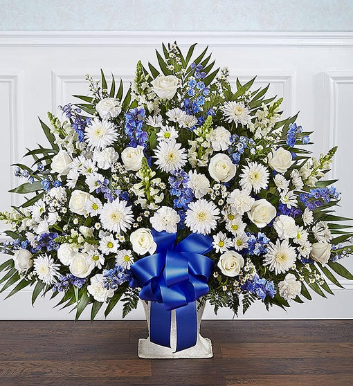 Heartfelt Blue White Sympathy Basket A Bella Mia Flowers Boston