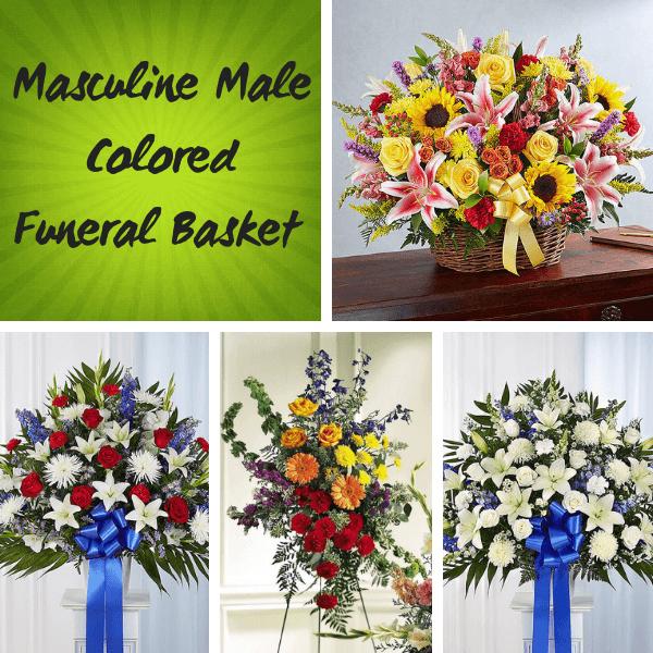 Masculine Male Colored Funeral Wicker Basket A Bella Mia Flowers Boston