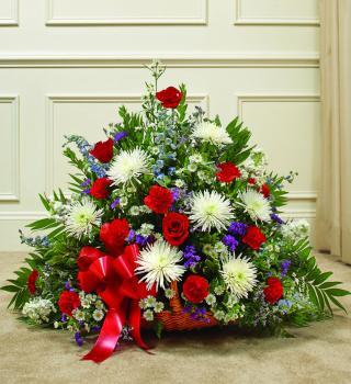 Red White And Blue Sympathy Fireside Basket Roslindale Florist